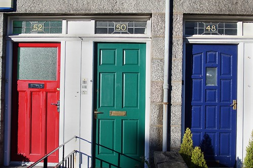 red, green and blue doors