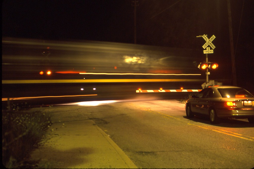 Railroad Crossing at night   This is a crossing at night nea
