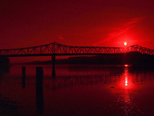 bridge sunset red landscape huntington olympus wv westvirginia zuiko ohioriver evolt 1442mm e410