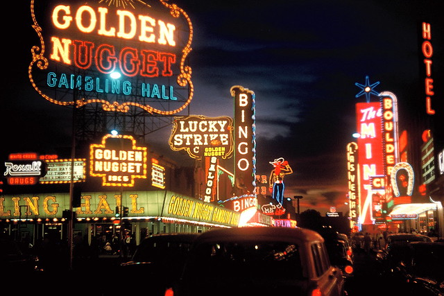 Golden Nugget sign and Fremont Street, Las Vegas, 1960