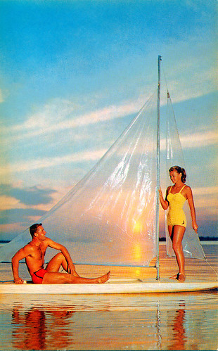 sunset woman man sailboat boat couple florida postcard 1950s swimsuit cypressgardens bathingsuit winterhaven