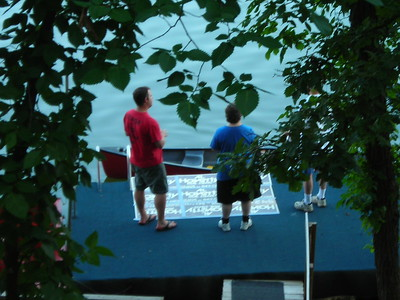 Preparing for Fireworks Show off the Dock at the Cabin