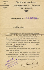 Lettre de la SACEM à la fanfare d'Orgelet en 1913