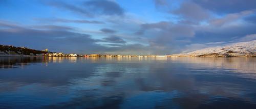 city sunrise landscape iceland eyjafjordur akureyri