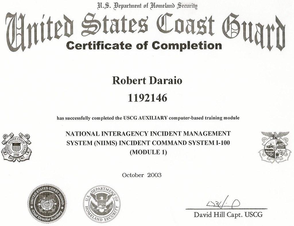 Daraio USCG FEMA ICS 100 Training Certificate | Robert Daraio | Flickr