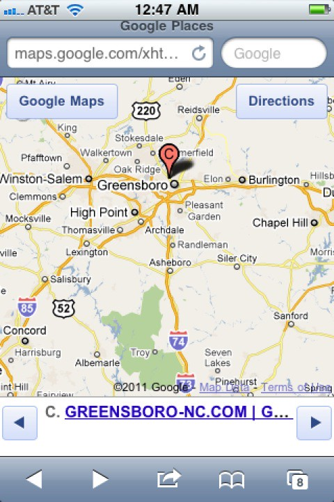 iphone screen capture Google Maps Google Places GREENSBORO-NC