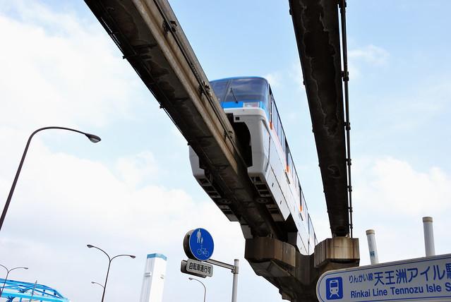 Tokyo Monorail Train Arriving at Tennozu Isle Station