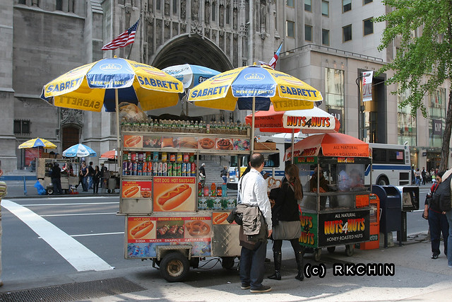 classic new york hot dog cart | only tourists eat hot dogs a