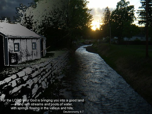 sunset water spring stream good land deuteronomy