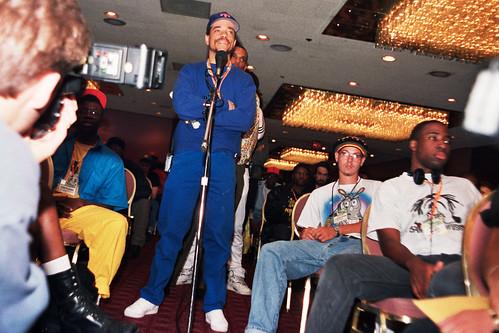 Ice T auf einem NMS-Panel, New York, 1992<br/>Foto © Lutz Schramm