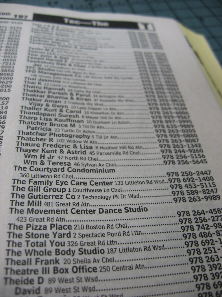 The Phone Book Listings   I didn't know phone books listed ...