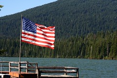 American flag at Odell Lake | by SeabeeCook