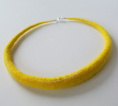 Yellow/white felted necklace - custom work | by ArtMind etcetera