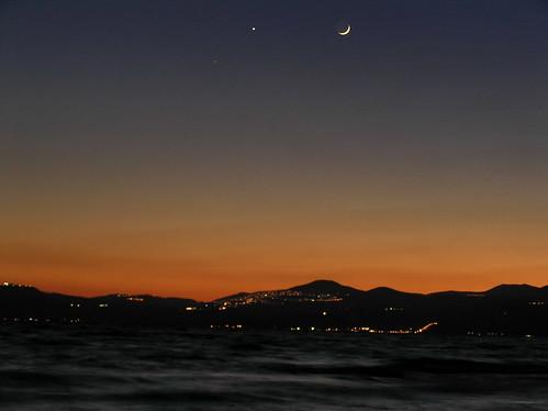 sunset sea moon atardecer star israel mar galilee luna crescent estrella ayyıldız creciente galilea jordanriftvalley