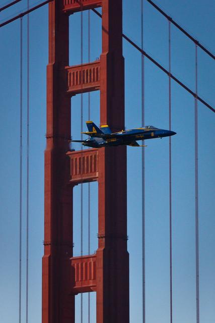blue angel flyby of the golden gate bridge 2008