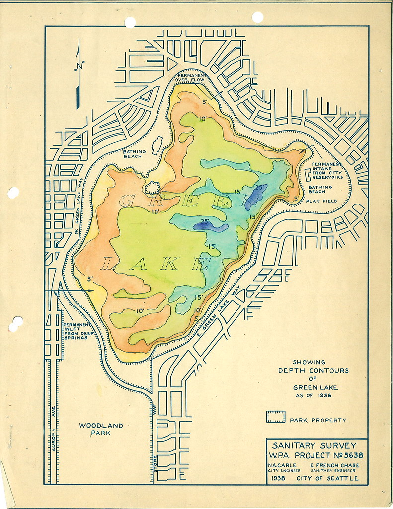 green lake seattle map Green Lake Depth Contour Map 1938 Created As Part Of A Wp Flickr green lake seattle map