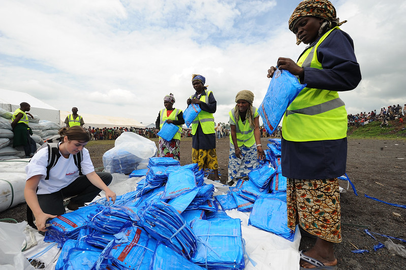 Mosquito nets come with the aid package