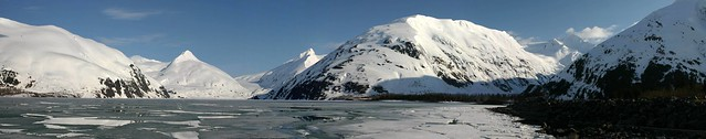 Stitched shot looking across Portage Lake