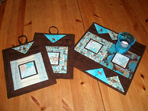 """Potholders made with """"Potpourri"""" Coll. made by Inger Ottesen"""