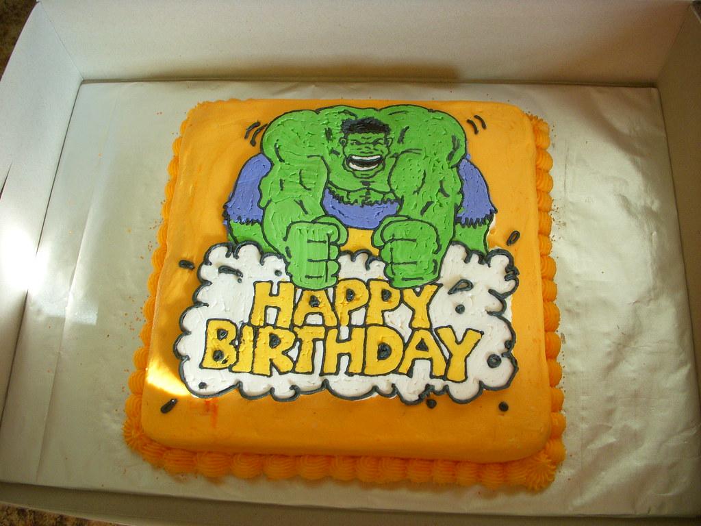 Strange The Hulk Birthday Cake Buttercream Transfer On Orange Butt Flickr Funny Birthday Cards Online Bapapcheapnameinfo