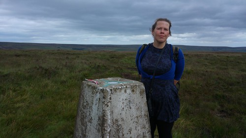 Caroline at the trig point on Standing Stone Hill, Heptonstall Moor | by pluralzed