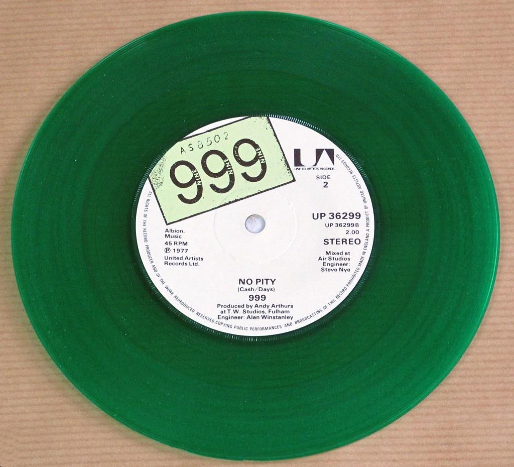 999 NASTY NASTY / NO PITY GREEN VINYL 7' 45RPM PS SINGLE VINYL