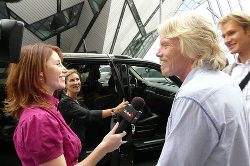 Virgin Millionaire Richard Branson doing a quick interview with Global news outside of a Bloor St. Press Junket during TIFF '08 | by christopherharte