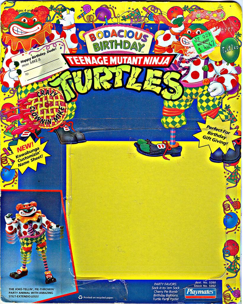 """Bodacious Birthday"" TEENAGE MUTANT NINJA TURTLES ::  CRAZY CLOWIN' MIKE .. backer i (( 1992 )) by tOkKa"