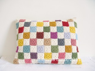Luella, tiny squares patchwork cushion | Emma Lamb | by emma lamb : living in colour