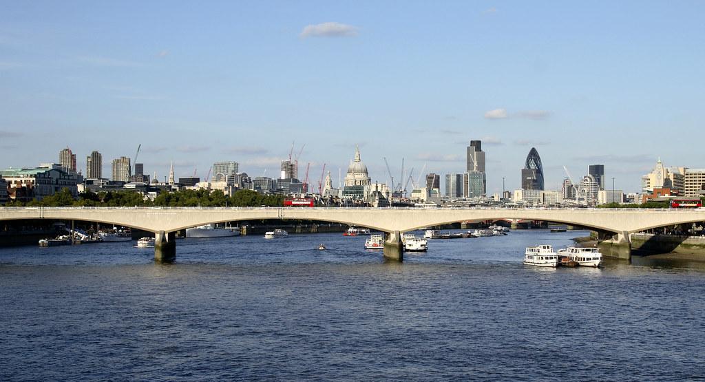 Waterloo Bridge And City Of London Panoramic View Waterloo