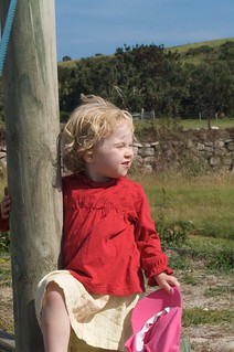 Elizabeth at the playground on Tresco