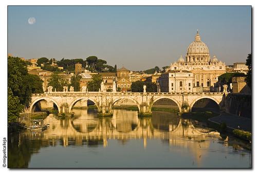 bridge rome roma río sunrise river puente amanecer tevere tíber 24105l 5photosaday golddragon abigfave anawesomeshot eos40d puentedesantangelo spainitalyes