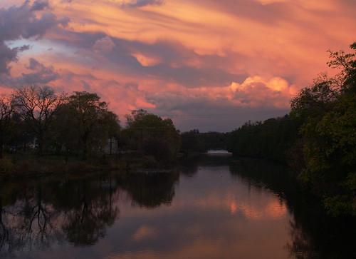 sunset sky ontario canada reflection water clouds river waterfall fb sony alpha dslr elora mostviewed a300 fav10 fav5 view500 fave5 fave10 view150 cmwdorange platinumheartaward sonydslra300 nowandhere davidfarrant
