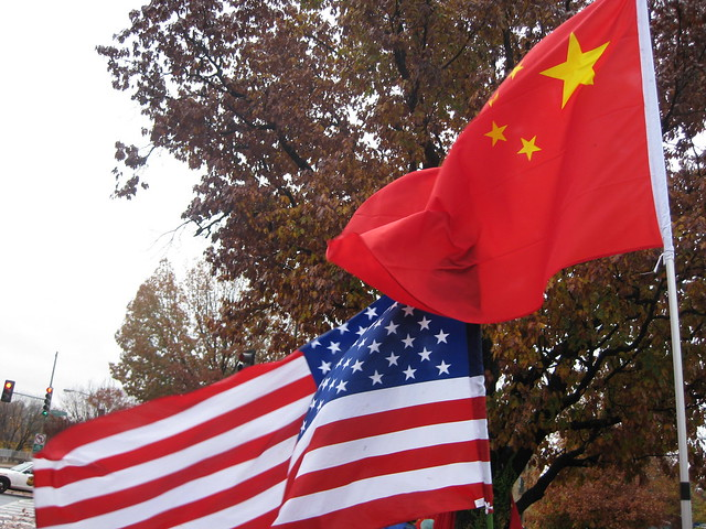 American and Chinese flags
