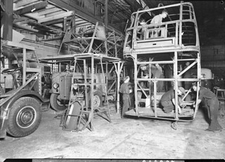 Assembling the bodies on AEC bus chassis, 1937