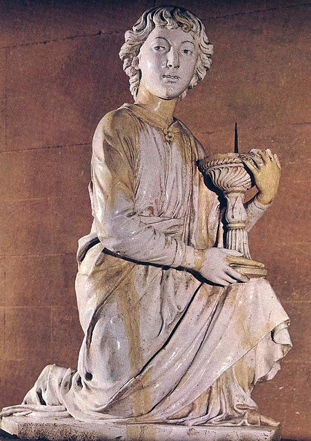 ROBBIA, Luca della Angel with Candlestick 1448 Glazed terracotta, height 84 cm Sacresty, Duomo, Florence
