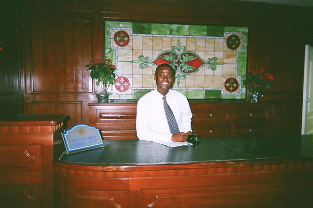 Man with a Stapler in Samana