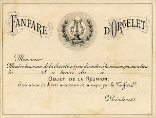 Carte de la fanfare d'Orgelet
