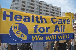 Health care for all protest outside health insurance conference at Moscone West | by Steve Rhodes
