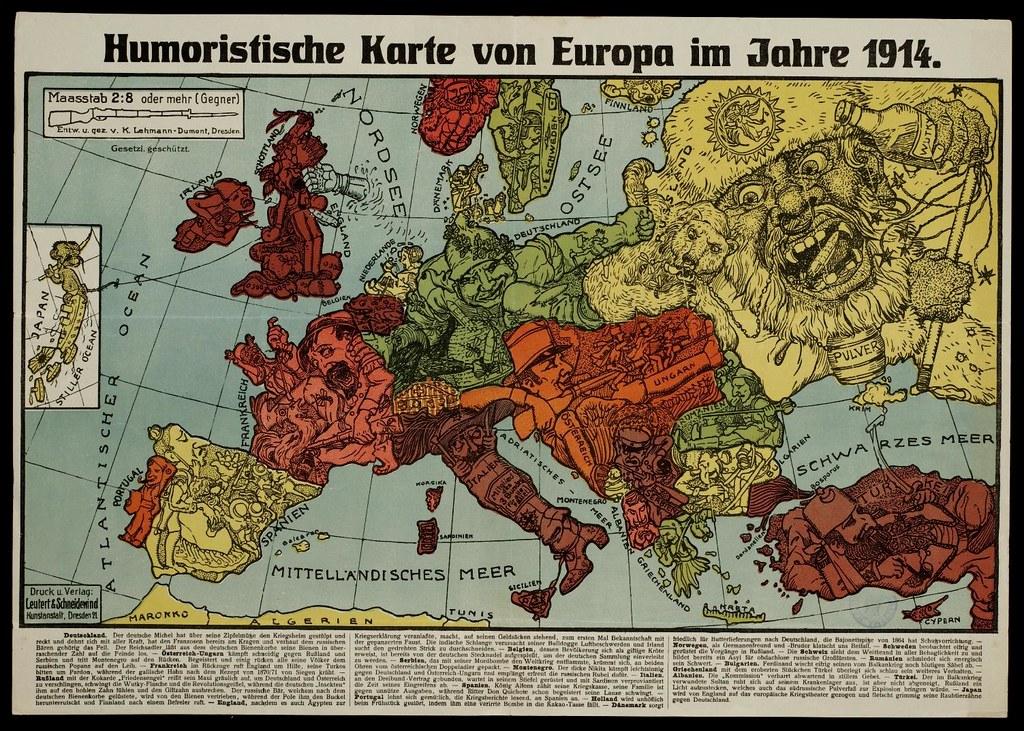 Humoristische Karte Von Europa 1914.Humoristische Karte Von Europa Im Jahre 1914 Bibliodyssey