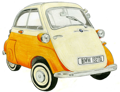 Bmw Isetta Colour Pencil Drawing Drawing Of A Bmw Isetta Flickr