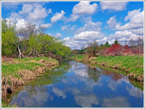 blue sky reflection clouds creek etobicoke flickrsbest landscapesdreams