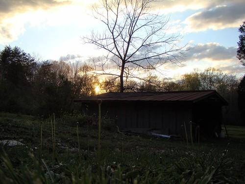 sunset grass barn