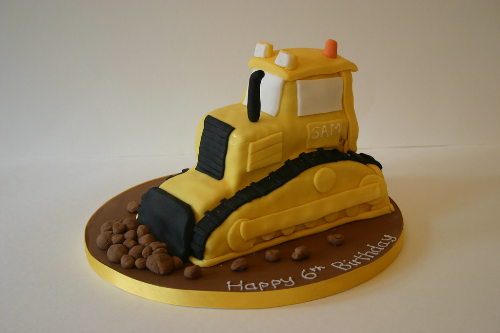 Miraculous Bulldozer Cake Bulldozer Birthday Cake Vanilla Sponge Wit Flickr Personalised Birthday Cards Beptaeletsinfo