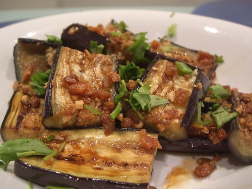 Grilled Eggplant with Crispy Dried Shrimp and Garlic | by avlxyz