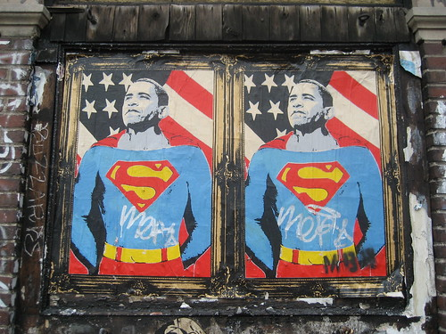 Barack Obama as Superman Paste-Up by Mr. Brainwash | by SliceofNYC