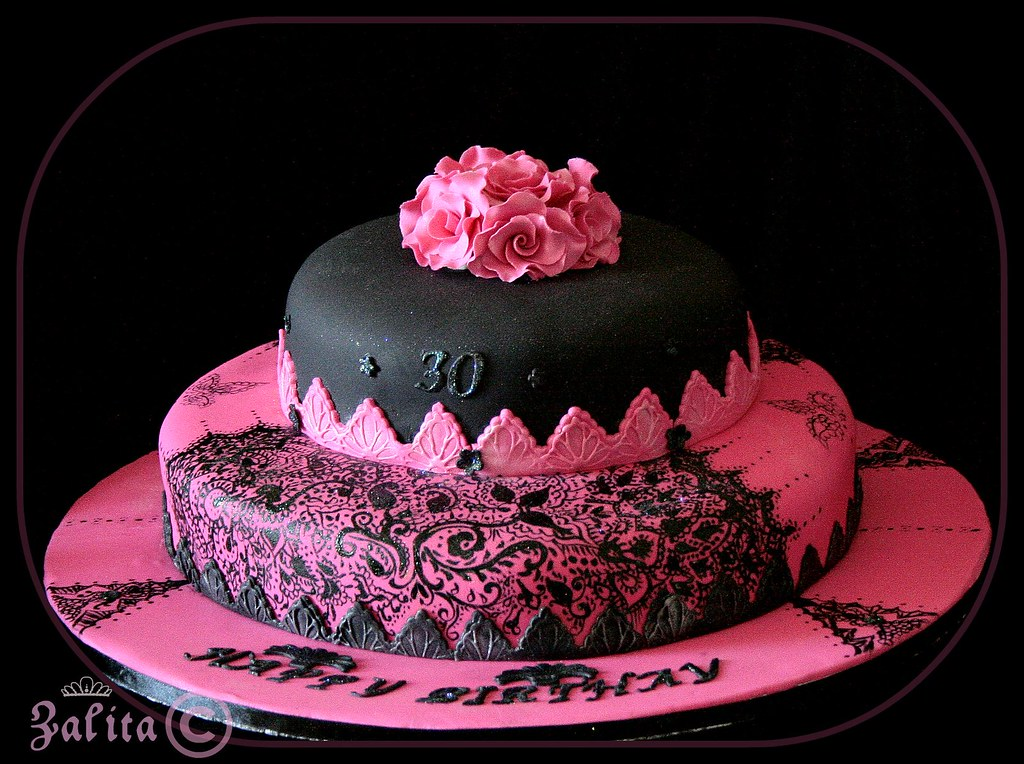 Incredible Electric Pink And Black 30Th Birthday Cake Ok Guys Before Flickr Funny Birthday Cards Online Alyptdamsfinfo