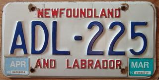 NEWFOUNDLAND 1992-93 PASSENGER plate