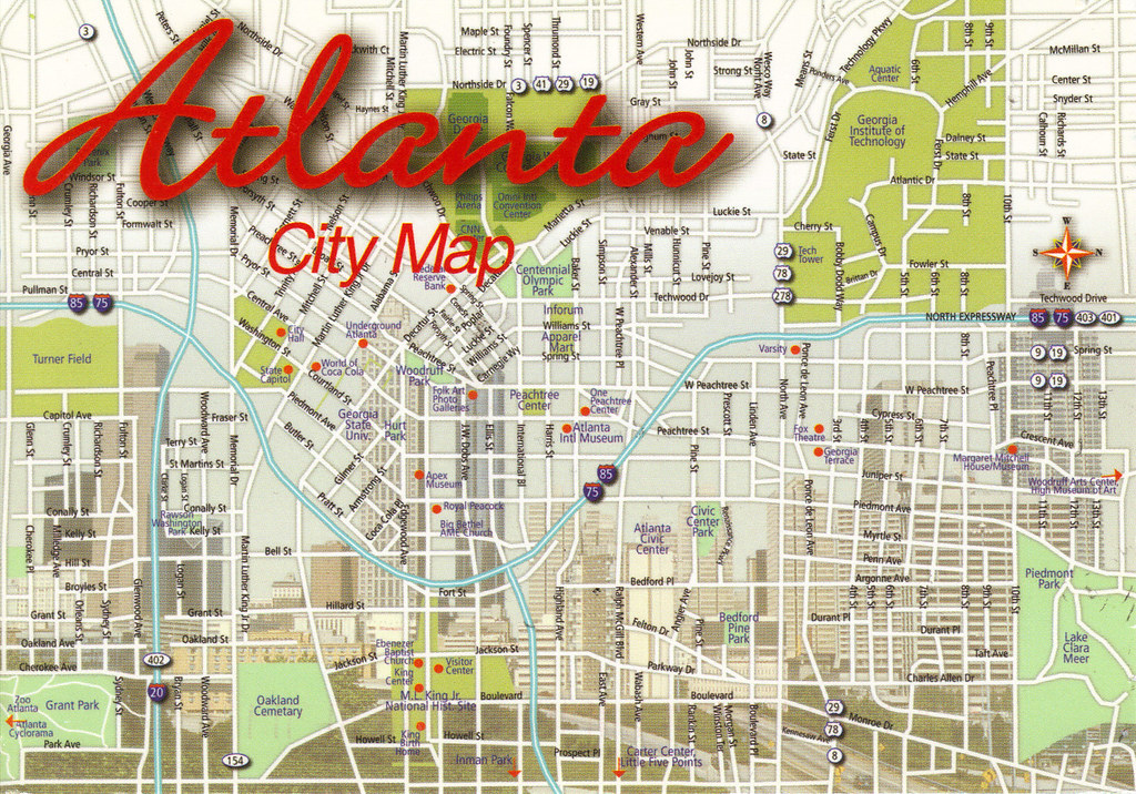 Georgia Atlanta City Map Postcard Us Us Different Theme Flickr - Atlanta-us-map