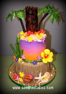Amazing Luau Birthday Cake Sandra Durbin Flickr Funny Birthday Cards Online Elaedamsfinfo